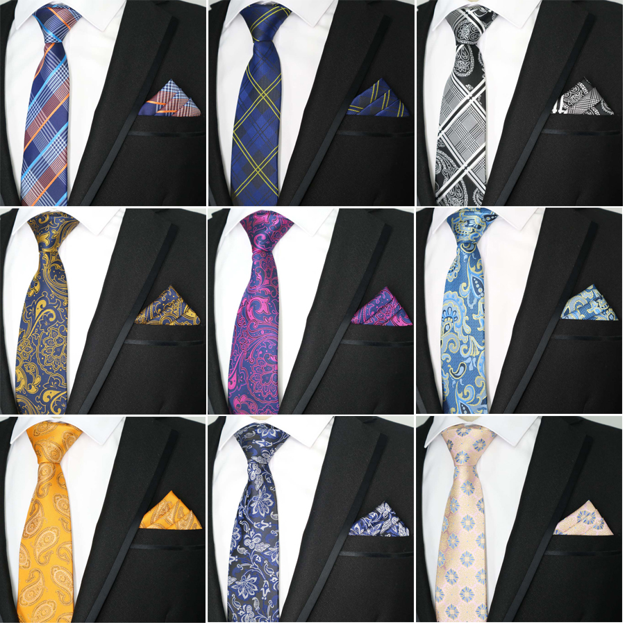 8cm Mens Tie And Handkerchief Set Plaid Paisley Necktie Set Luxury Silk Men's Neck Ties Party Wedding Pocket Square Tie Sets