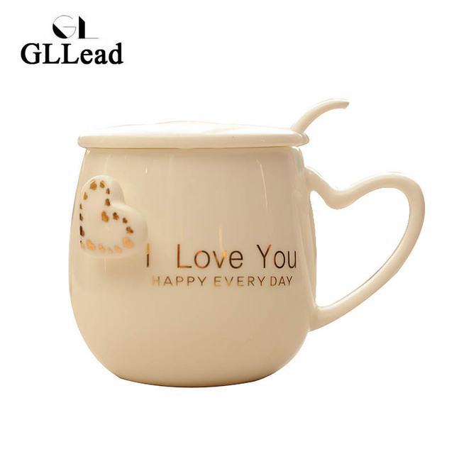 Gllead Fashion Modern Golden Pattern Ceramic Coffee Mug Home Milk Breakfast Tea Cup Porcelain With Lid