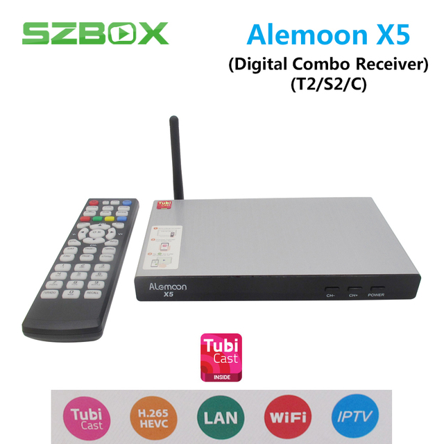 ALEMOON X5 DVB Combo decoder DVB-S2/T2/C Smart TV Receiver Casting 1080P H.265 Built-in WIFI Support TubiCast Satellite Receiver
