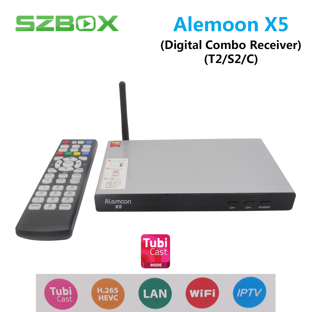 ALEMOON X5 DVB Combo decoder DVB S2/T2/C Smart TV Receiver Casting 1080P H.265 Built in WIFI Support TubiCast Satellite Receiver