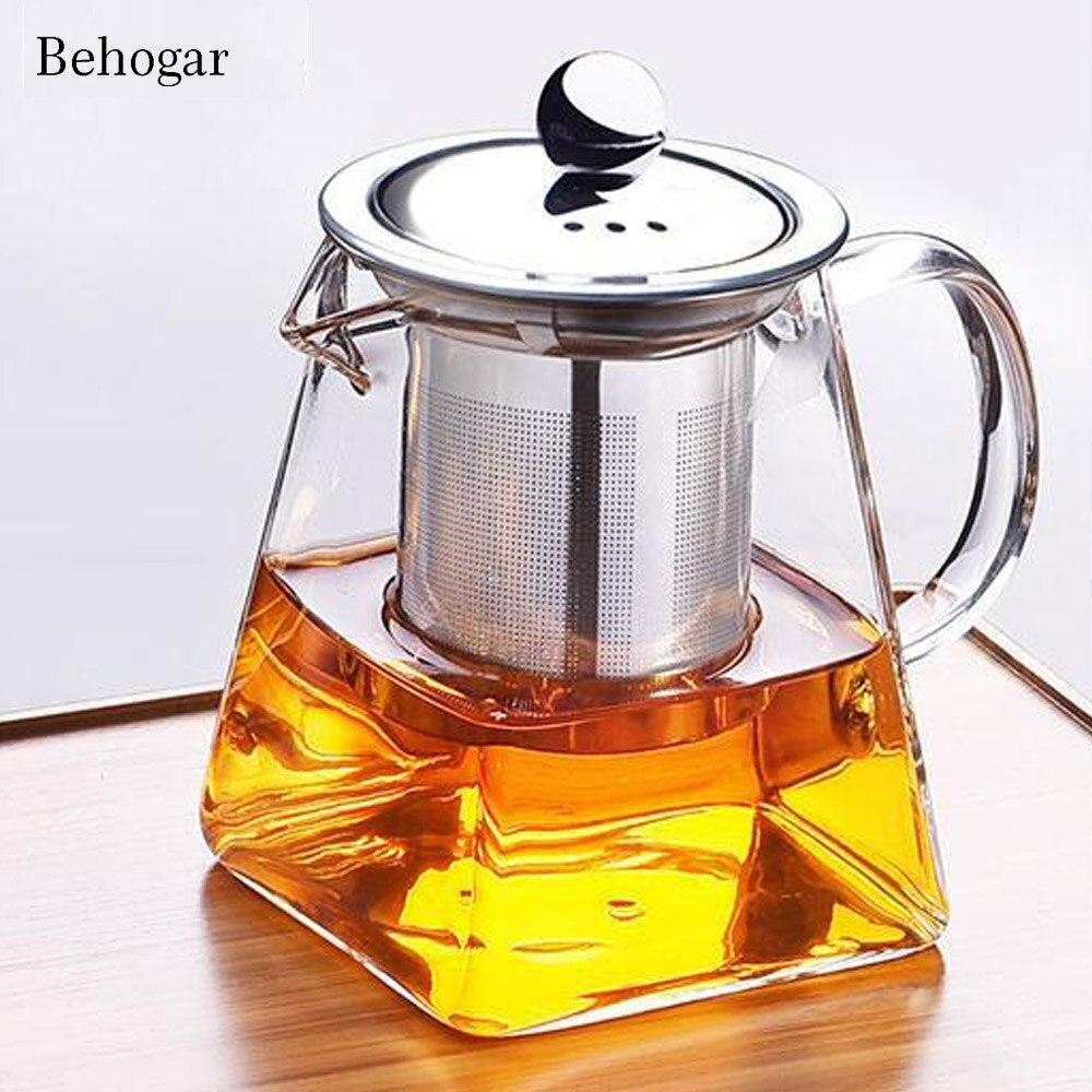 Behogar 350 ml 550 ml 750 ml de vidrio cuadrado tetera resistente de alta temperatura de hoja suelta té de flor de café w /infusor colador tapa