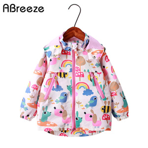 Image 1 - 2020 New winter spring girls top clothing fashion warm children outerwear for girls 2 9Y rainbow print kids jakcets coats girls