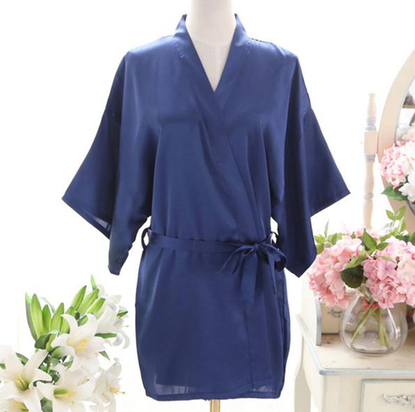 Hot Sale Navy Blue Summer Womens Kimono Short Mini Robe Faux Silk Bath Gown Yukata Geisha Nightgown Sleepwear One Size JA09