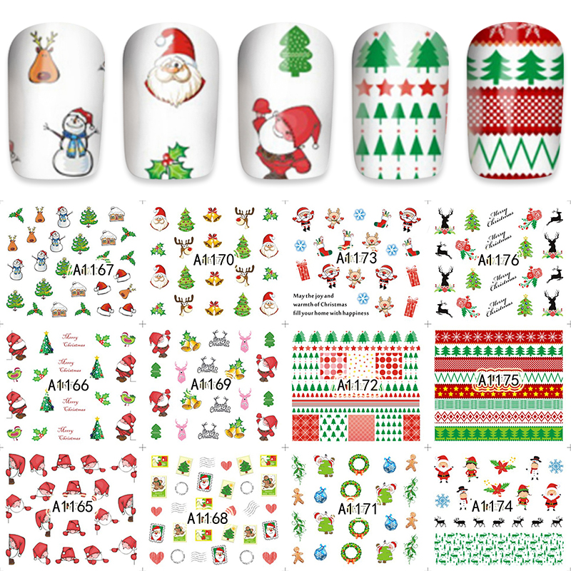 ZKO 12 Pieces/Set Xmas Christmas Water Transfer Sticker Nail Art Full Foils Wraps New Year Gift DIY Kids Decals A1165-1176