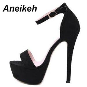 Image 5 - Aneikeh 2020 חדש 14.5CM פלטפורמת עקבים גבוהים סנדלי קיץ סקסי קרסול רצועת בוהן פתוח גלדיאטור המפלגה שמלת נעלי נשים גודל 42