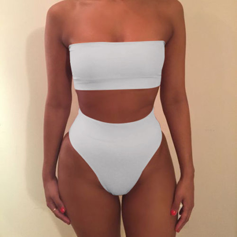 43d47665a4 Solid color tube top two pieces women swimsuit sexy swimwear women mid  waist girls biquini set female swimming set bathing suit-in Bikinis Set  from Sports ...