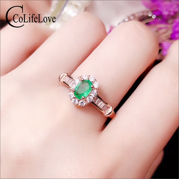 CoLife Jewelry Emerald Engagement Ring for Girl 100% Natural Emerald Ring 925 Silver Emerald Jewelry Birthday Gift for Girl