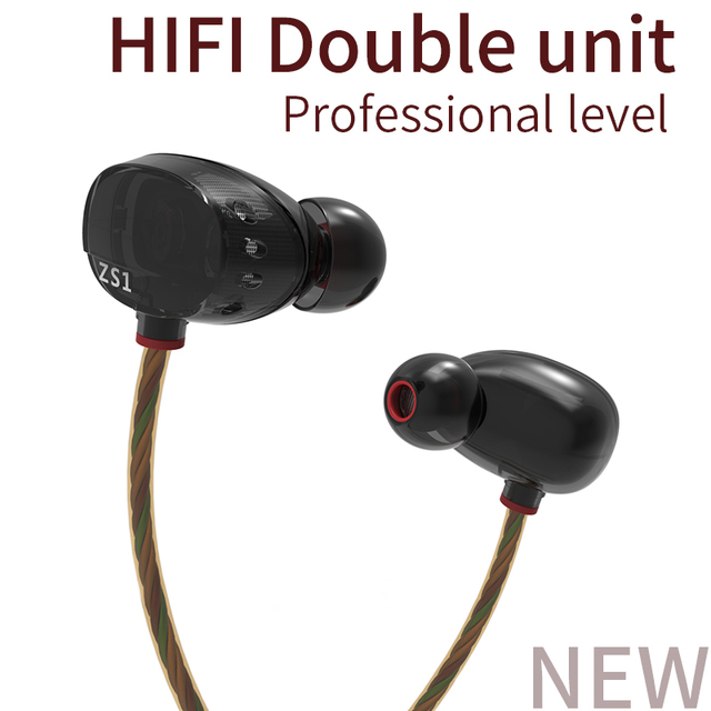 KZ ZS1 Dual Dynamic Driver Headphones Noise Cancelling Stereo In-Ear Monitors HiFi Earphone With Microphone for Phone