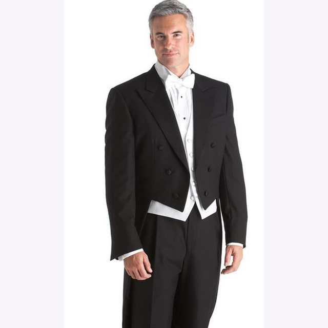 Black Custom made prom men suit jackets double breasted notch/peak ...