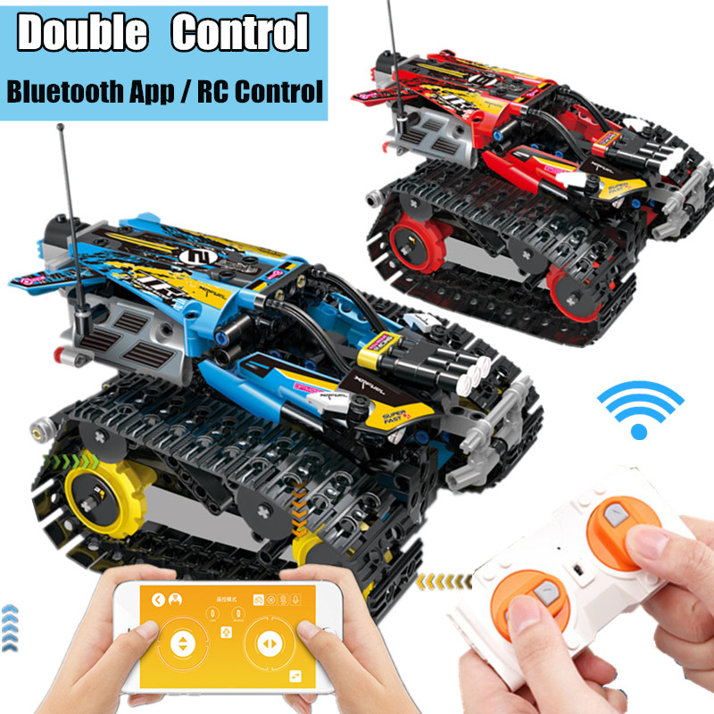Motor APP Control Power Up Function RC TRACKED RACER Electric fit technic Speed car kits Building