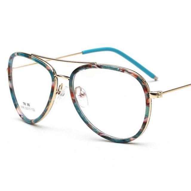 Floral azul Liga TR90 Oval Full Frame Armações de Óculos Limpar Lens Oculos  de Grau Feminino aaafacb2b3