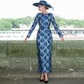 Elegante lace dress 2016 outono nova moda vintage impresso longo-sleeved vestidos o pescoço fino hip feminino de ultra longo lápis vestidos