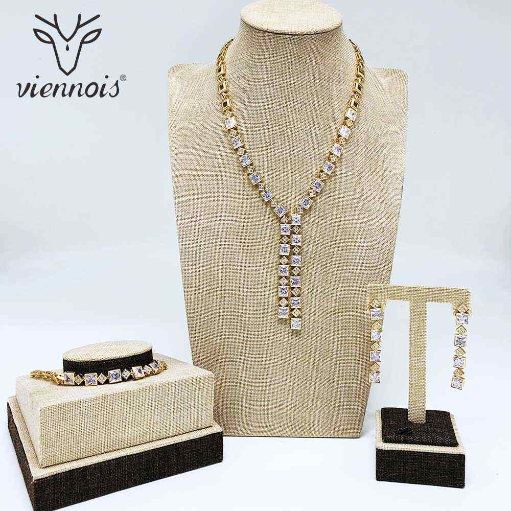Viennois New Gold/Sliver Color Rhinestone Dangle Earrings Bracelet Necklace Jewelry Set For Women Metal Party Jewelry Set
