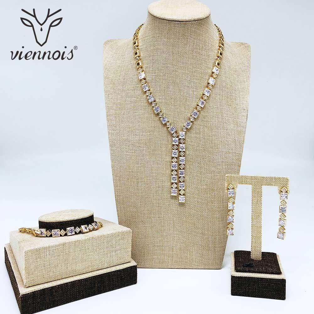 Viennois nouveau or/argent couleur strass boucles d'oreilles Bracelet collier parure de bijoux pour femmes en métal fête parure de bijoux