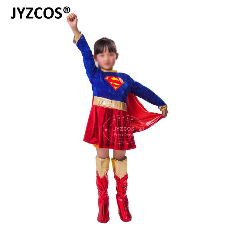 JYZCOS Kids Girls Cosplay Supergirl Costume Superhero Cosplay Clothing Halloween Costumes Outfits Fancy Party Dress for Children