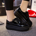 Free Shipping 2017 Spring New Korean Harajuku Black White Casual Wedge Platform Shoes Leather Waterproof Women Vulcanize Shoes