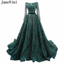 JaneVini Luxury Green Sequin Evening Dress 2019 Scoop Neck A Line Court Train Long Sleeve Evening Gown Sexy Dubai Formal Dresses(China)