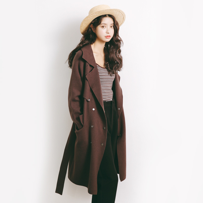 2017 autumn and winter womens big pocket long coat sweater cardigan female thick sweater A971