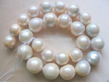 Venta caliente-> @ @ N288 14-17mm Redonda de Agua Dulce Cultivado Nucleados Perlas Perlas Sueltas A + Blanco 15 -envío libre de calidad superior