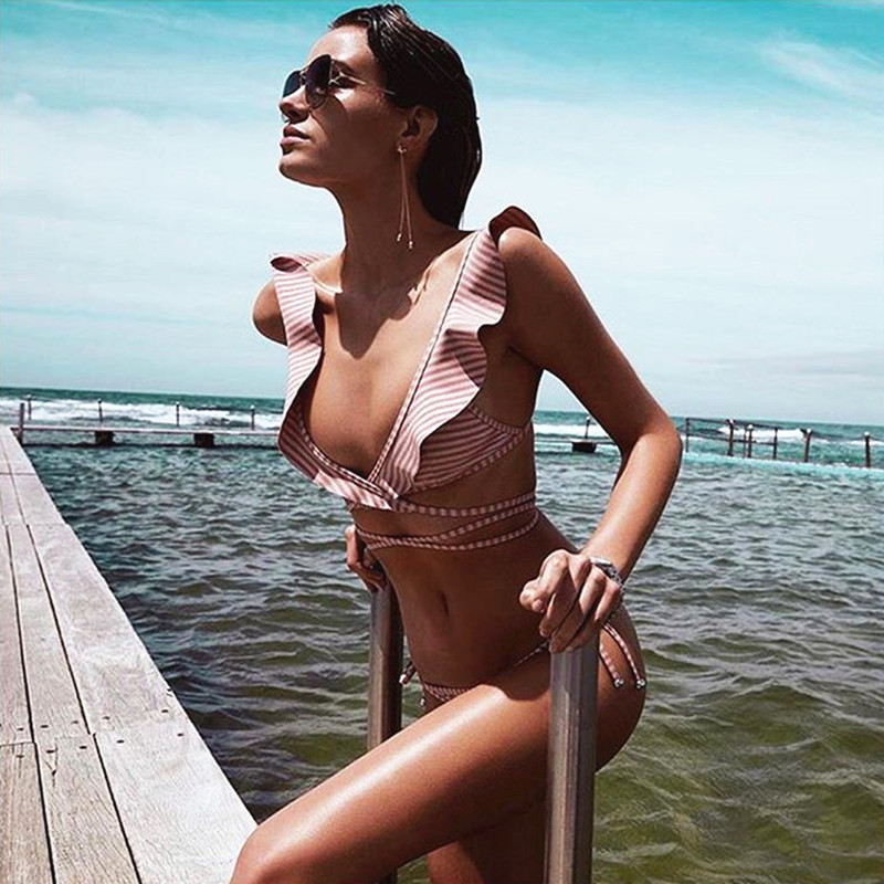 3a64329d9f Women Sexy Criss Cross Wrap Top Bikini Set Brazilian Ruffle Swimwear  Bandage Push Up Swimsuit 2017 New Bathing Suits Biquini