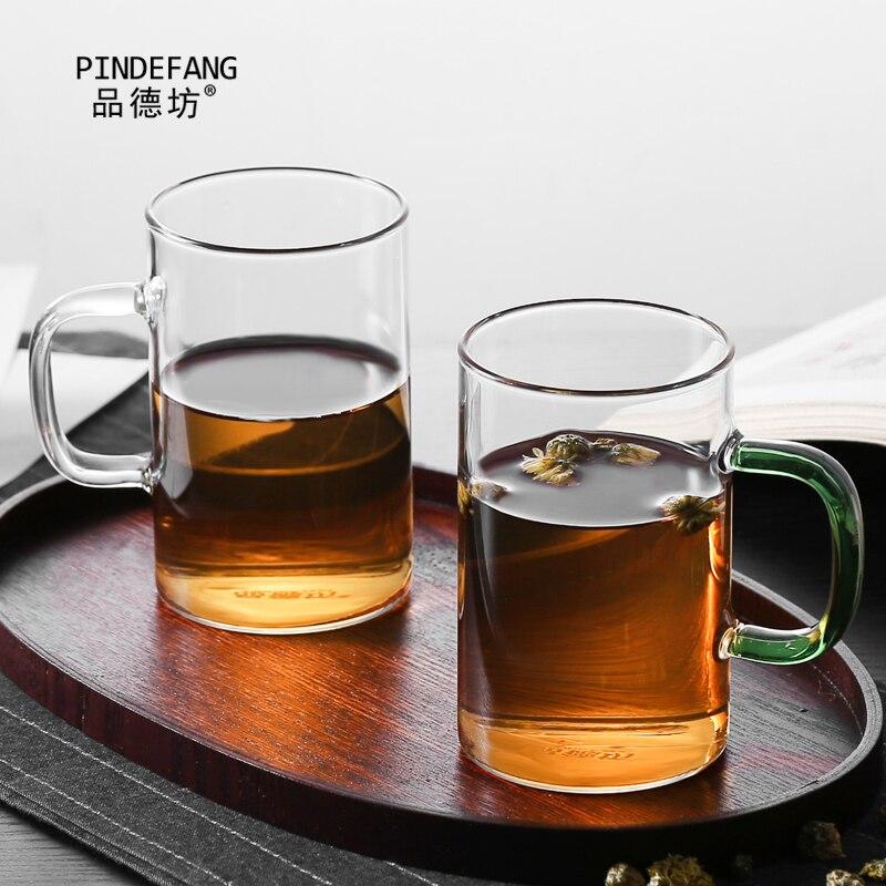 PINDEFANG 400ml Office Water Mug with Lid Heat-resistant Glass Cups Juice Bottle Birthday Gift Tea Tea Milk Mug Drinkware