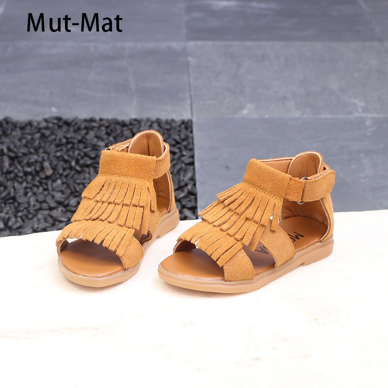 2019 Summer Girls Shoes New Genuine  Leather Girls Sandals Children Tassel Princess Shoes Baby Leather Shoes