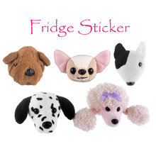Plush Toy Refrigerator Sticker Fridge Magnet Dogs Head Stuffed Poodle Bull Terrier Dalmatian Chihuahua Sharpei Boston Home Decor