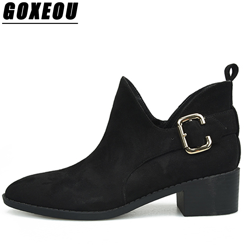 GOXEOU 2018 New Womens Winter Boots Ladies Martin Ankle Boots Casual Fashion High Heels Shoes Woman Brand Winter Boots Women