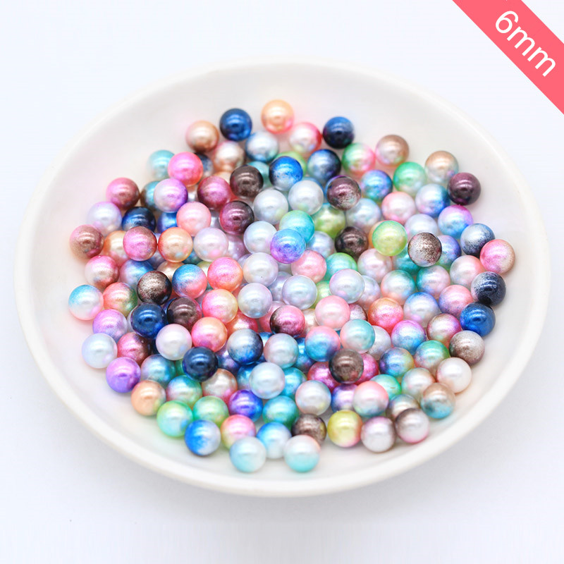 90pcs/lot 6mm Multicolor No Hole Imitation Pearls Round Loose Beads Garment Handmade DIY Accessories For Fashion Jewelry Making