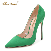 Nancyjayjii Women Purple&Red Genuine Leather Pointed Toe High Heels Shoes Casual & Party & Dress Pump Shoes ,Big Size 4-16.