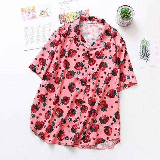 2019 New Women Blouses Holiday Casual Short Sleeve Tops Ladies Strawberry Printed Shirt Korean Summer Fashion Women Clothing 14