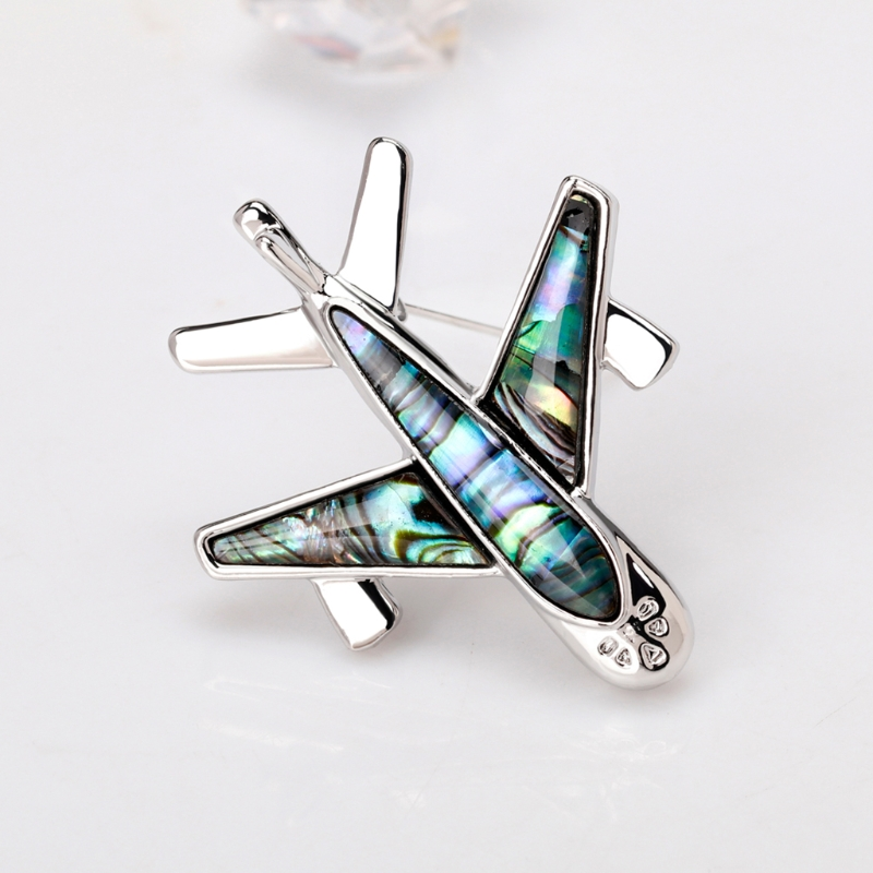 Unique Cool Airplane Shell Cartoon Brooch Collar Pins Corsage Badges Dress Accessories