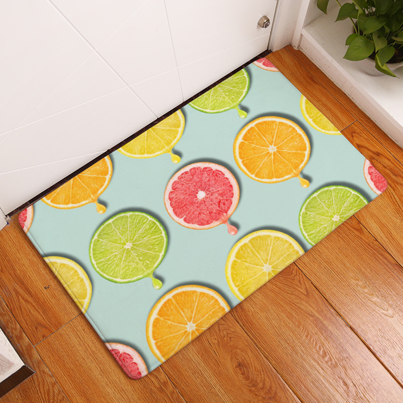 Welcome Floor Mat Fruit Theme Printing Flannel Entrance