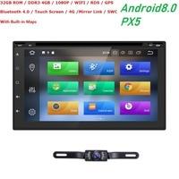 7 Octa Core Android 8.0 2din 4G RAM 32G ROM Car Radio Universal GPS Navigation Stereo Audio HD 1024*600 WIFI DVR DAB+ TPMS OBD
