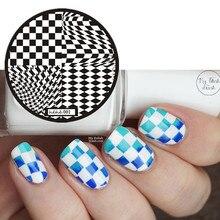 Nail Stamping Plate Geometric Black&White Box Art Image Stamp Template Placa Carimb Diamond/Square Design 1 PCS Packing