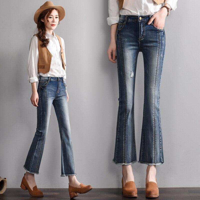 Style Évasée Maigre Printemps Taille 1 Casual Automne Sexy Denim Élastique Mince Cowboy Jeans Rétro Haute Pantalon Femmes SppOUXqnT