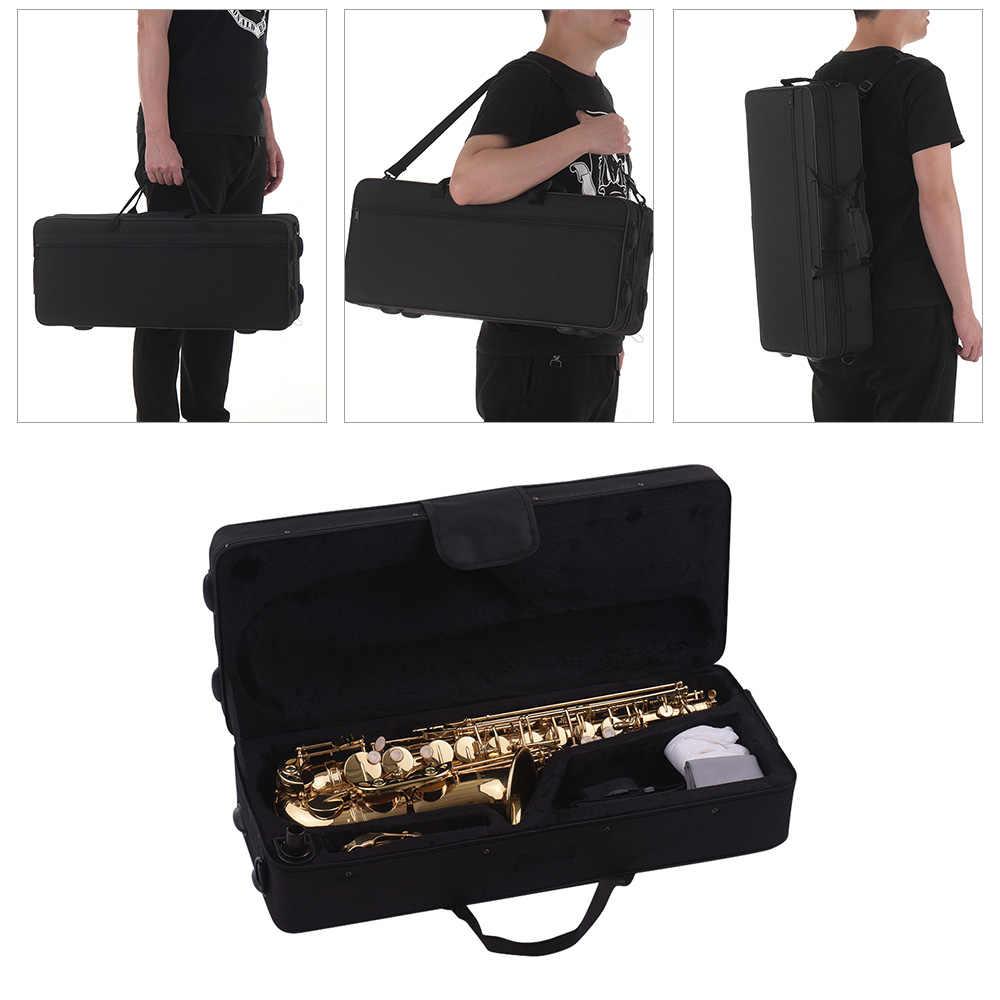 Muslady Eb Alto Saxophone Sax Latão Lacado de Ouro 802 Tipo de Chave com Estojo Acolchoado Luvas de Pano de Limpeza Escova de Tiras canas