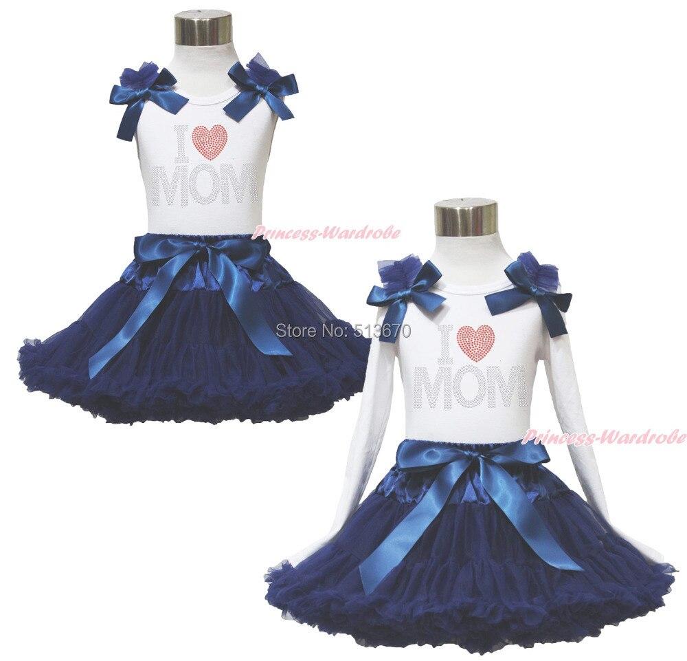 Rhinestone I Love Mom  White Pettitop Top Shirt Navy Blue Bow Pettiskirt Dress Set 1-8Y MAPSA0525 велосипед forward terra 1 0 2016 18 navy white