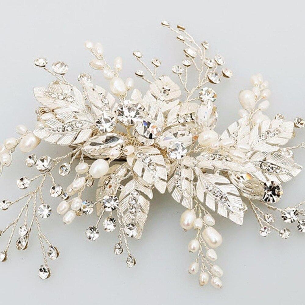 Pearl Flower Hair Combs For Bridal Big Flower Ladies Crystal White