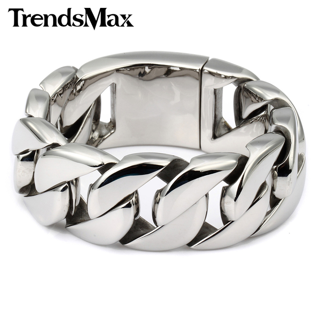 Trendsmax 24/31mm Wide Biker 316L Stainless Steel Heavy Curb Chain Bracelet Mens Boys Chain Wholesale Jewelry HBM24