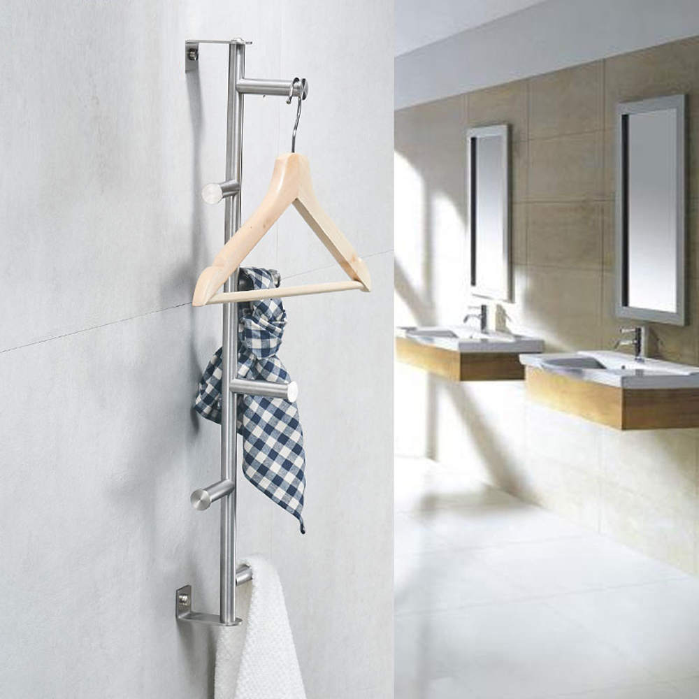 Towel bar 304 stainless steel brushed vertical wall hanging clothes rail towel hook Hanging rod wx7201614