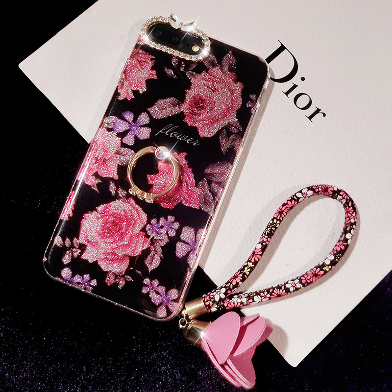 Case For iPhone Xr Xs Max Cover Luxury Rose Flower 3D Metal  (3)