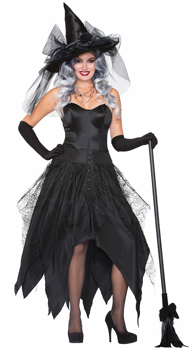 Black Witch Costume Adult Women Magic Moment Costume Cosplay Dress Female Halloween Party