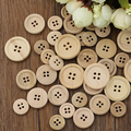 New 2016 50 Pcs Mixed Wooden Buttons Natural Color Round 4-Holes Sewing Scrapbooking DIY