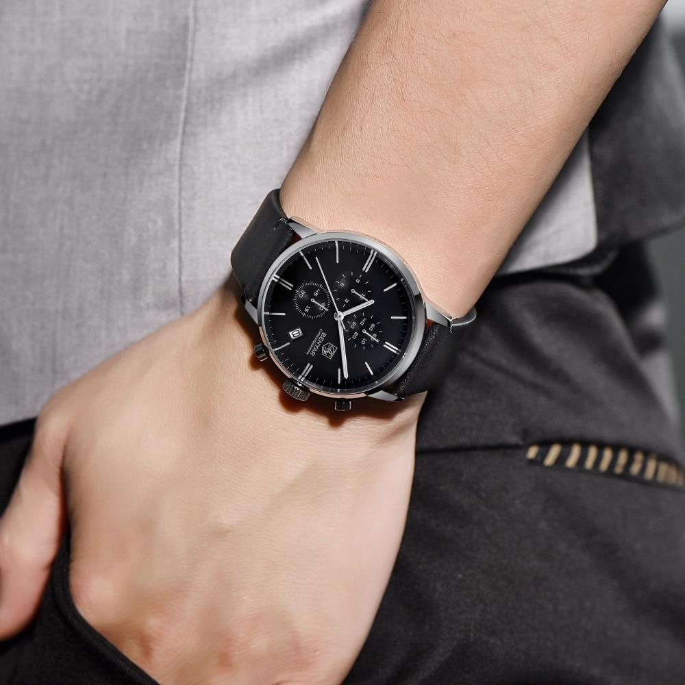 BENYAR mody luksusowej marki męskie skórzane zegarek kwarcowy zegarek biznes opakowanie ze stali nierdzewnej zegarki wodoodporne erkek kol saati w Zegarki kwarcowe od Zegarki na  Grupa 2