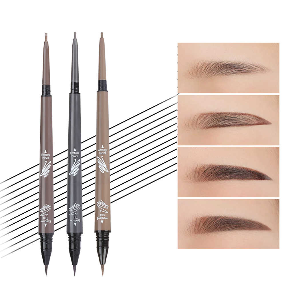 Waterproof Eyebrow Pencil + Tint Eyebrow Liquid 24H Long Lasting Eyebrow Tattoo Tint Pen Double Head Super Fine Brow Line Pen