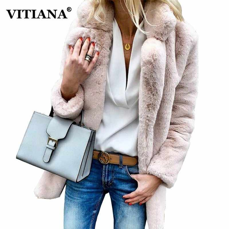 8233e0bc7a3 VITIANA Women Plus Size Colored Casual Faux Fur Coat Ladies 2018 Autumn  Winter Elegant Pink Warm