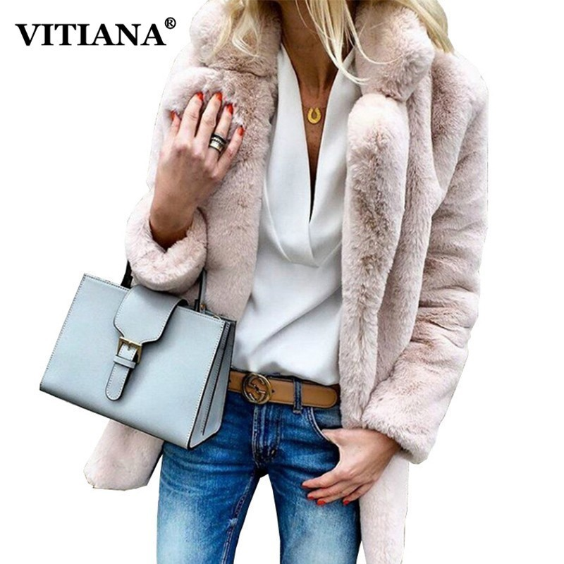 VITIANA Women Plus Size Colored Casual Faux Fur Coat Ladies 2018 Autumn Winter Elegant Pink Warm Soft Outwear Oversize Jacket