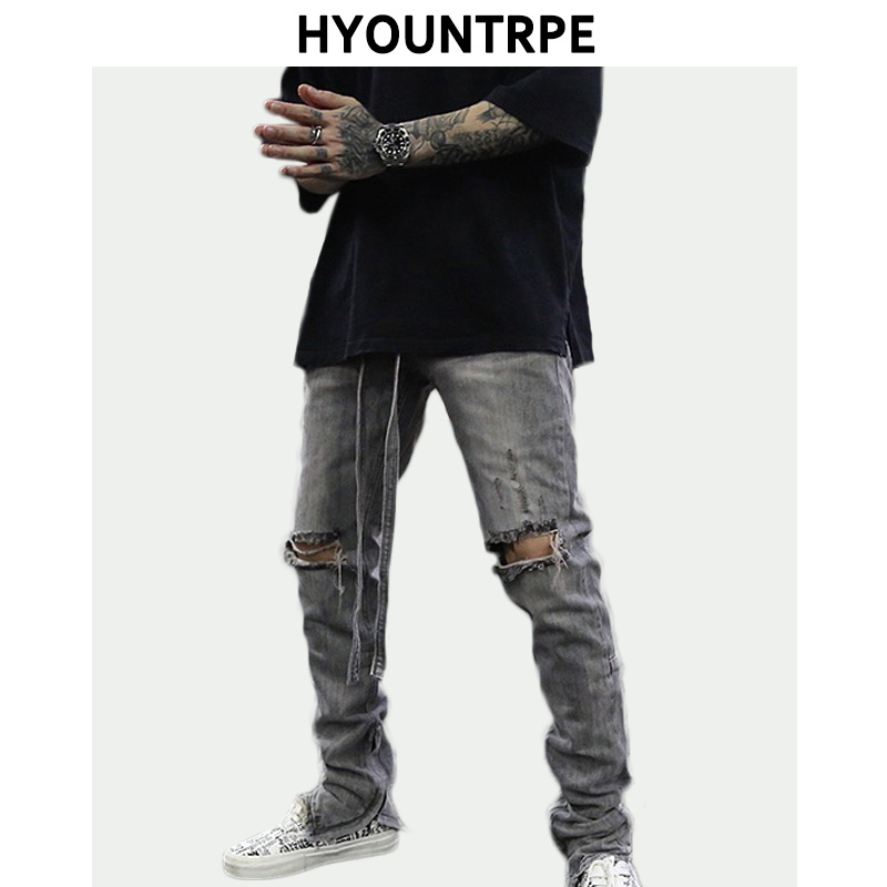 Knee Hole Destroyed Denim Jeans Mens Vintage Washed Slim Biker Jeans With Long Belt New Fashion Streetwear Hip Hop Pants Joggers