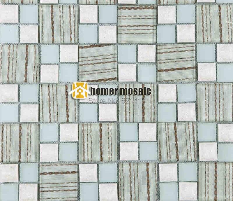 Light Blue Kitchen Wall Tiles: Classic Light Blue Color Glass Mosaic Tiles Square Mesh